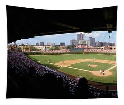 High Angle View Of A Baseball Stadium Tapestry