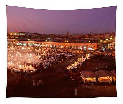 High Angle View Of A Market Lit Tapestry