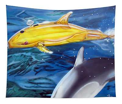 High Tech Dolphins Tapestry