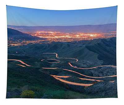 Highway 74 Palm Desert Ca Vista Point Light Painting Tapestry