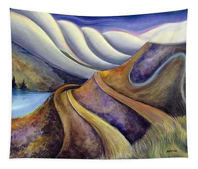 Highway With Fog Tapestry