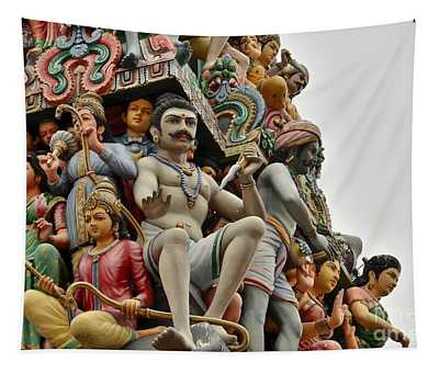 Hindu Gods And Goddesses At Temple Tapestry