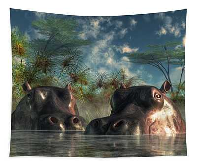 Hippos Are Coming To Get You Tapestry