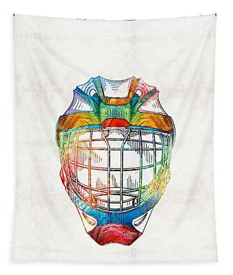 Hockey Art - Goalie Mask Patent - Sharon Cummings Tapestry
