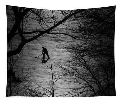 Hockey Silhouette Tapestry