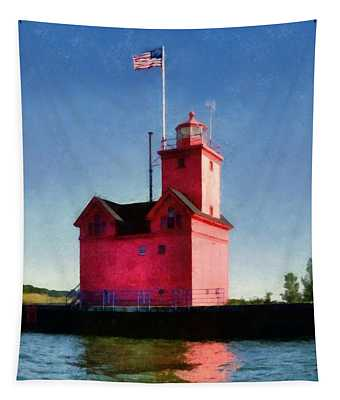Holland Harbor Light From The Channel Tapestry