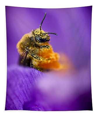 Honeybee Pollinating Crocus Flower Tapestry