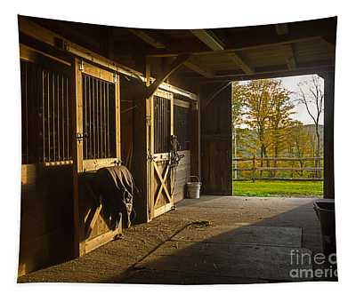 Horse Barn Sunset Tapestry