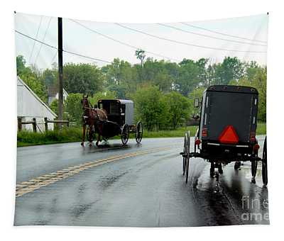 Horse Buggies On A Rainy Day Tapestry