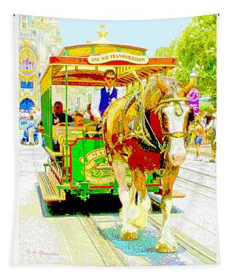 Horse Drawn Trolley Car Main Street Usa Tapestry