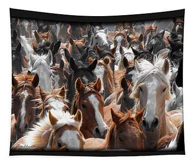 Horse Faces Tapestry