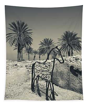Horse Sculpture In A Park, Megiddo Tapestry