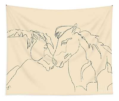 Horse - Together 3 Tapestry