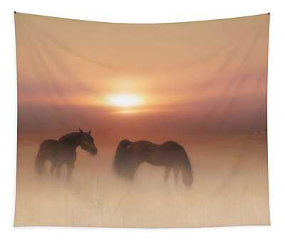 Horses In A Misty Dawn Tapestry