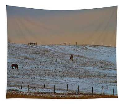 Horses On The Farm In Winter Tapestry