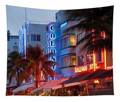 Hotels Lit Up At Dusk In A City, Miami Tapestry
