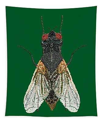 House Fly In Green Tapestry
