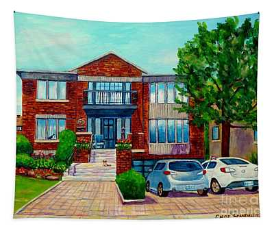 House Portrait-house  Art-commissioned  Montreal Paintings-carole Spandau Tapestry