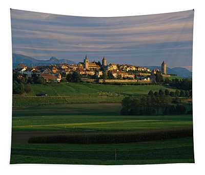 Houses On A Hill, Romont, Switzerland Tapestry
