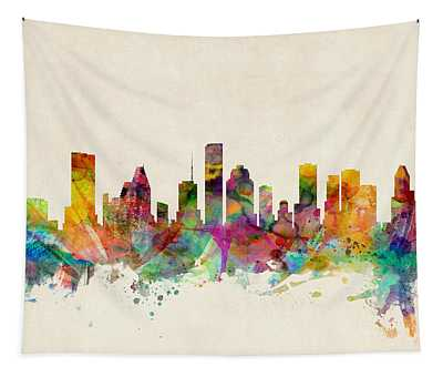 Houston Texas Skyline Tapestry