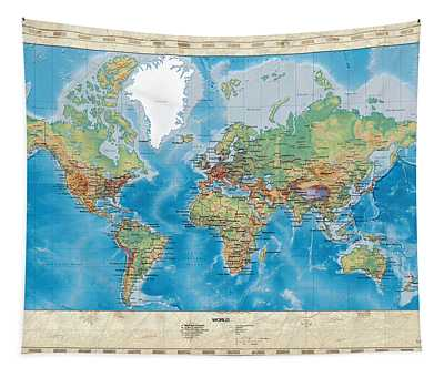 Huge Hi Res Mercator Projection Physical And Political Relief World Map Tapestry