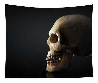 Human Skull Profile On Dark Background Tapestry