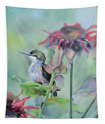Hummingbird And Coneflowers Tapestry
