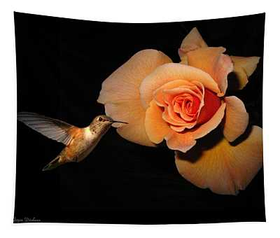 Hummingbird And Orange Rose Tapestry