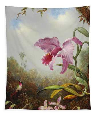 Hummingbird And Two Types Of Orchids Tapestry