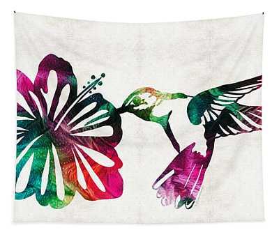 Hummingbird Art - Tropical Chorus - By Sharon Cummings Tapestry