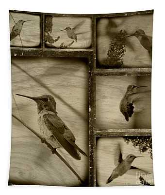 Hummingbird Family Portraits Tapestry