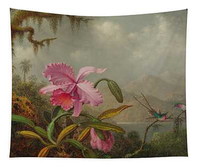 Hummingbirds And Orchids Tapestry
