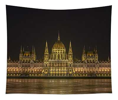 Hungarian Parliament Building Night Tapestry
