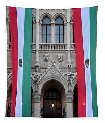 Hungary Flag Hanging At Parliament Budapest Tapestry