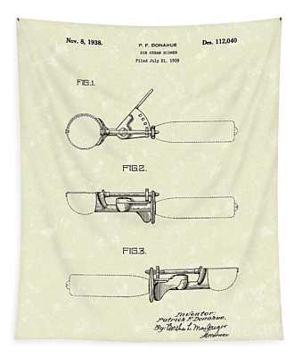 Ice Cream Scoop 1938 Patent Art Tapestry