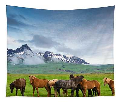 Icelandic Horses In Mountain Landscape In Iceland Tapestry