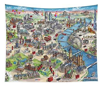 Illustrated Map Of London Tapestry
