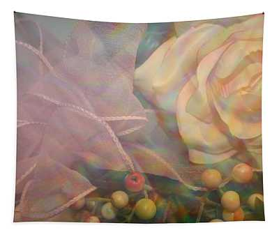 Impressionistic Pink Rose With Ribbon Tapestry