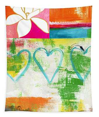 In Bloom- Colorful Heart And Flower Art Tapestry