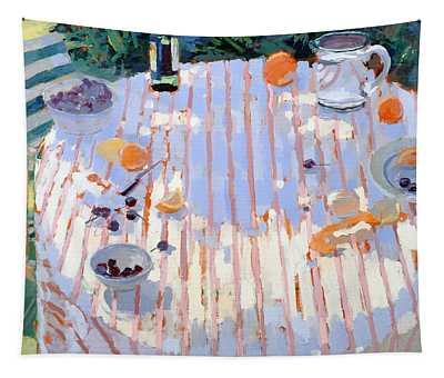 In The Garden Table With Oranges  Tapestry