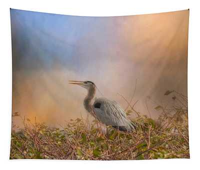 In The Nest - Great Blue Heron Tapestry