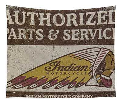 Indian Motorcycle Sign Tapestry