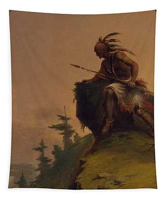 Indian On A Cliff Tapestry
