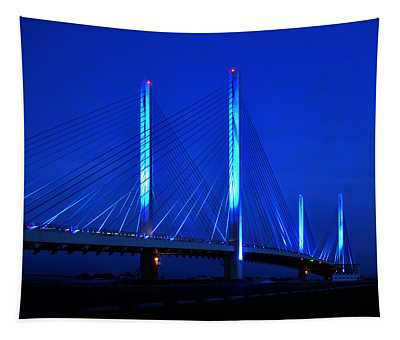 Indian River Bridge At Night Tapestry
