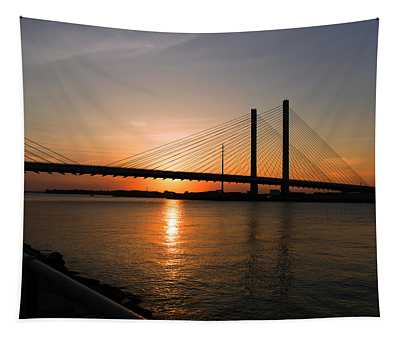 Indian River Bridge Sunset Reflections Tapestry