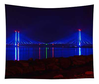 Indian River Inlet Bridge After Dark Tapestry
