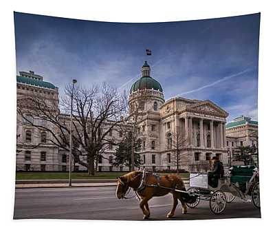 Indiana Capital Building - Front With Horse Passing Tapestry