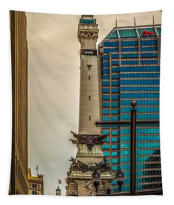Indiana - Monument Circle With State Capital Building Tapestry