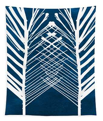 Indigo And White Leaves- Abstract Art Tapestry