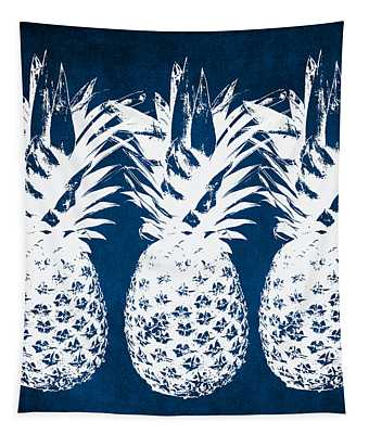 Indigo And White Pineapples Tapestry